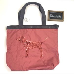 VS pink sequin dog begonia tote bag